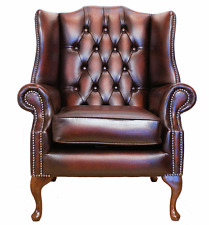 Chesterfield Mallory Queen Anne High Back Fireside Chair Antique Oxblood Leather