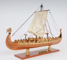 "Drakkar Viking Wooden Dragon Boat Ship Model 15"" Long Fully Assembled New in Box"