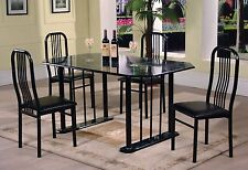 The Room Style 5pc Black Marble Top Welded Dinette Table Set 1 table w/ 4 chairs