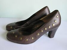 Dolcis Ladies Brown Leather Shoes with STUD DETAIL - UK 6 / EU 39