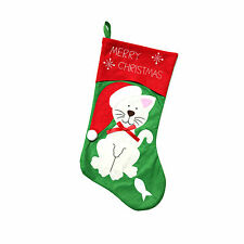 Fun Cat Christmas Felt Gift Stocking Holder for Pets - 'Merry Christmas'