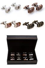 Cigars 4 Pairs Assorted Cufflinks Wedding Fancy Gift Box Free Ship USA