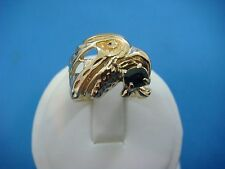 14K WHITE GOLD BOY'S-MEN'S PINKY EAGLE RING WITH OVAL SAPPHIRE, 9.1 GRAMS