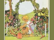 Vintage Repro Postcard: Cute Little Girl Gardening-Arch, Watering can, Flowers