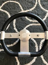 ICHIBAHN RACING STEERING WHEEL STAINLESS/BLACK LEATHER WITH 2 BUTTONS AND HORN
