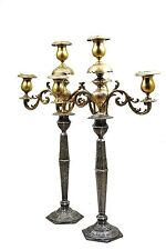 Derby Repousse Ornate Silverplate and Brass Candlesticks Candleabra- Set of 2