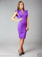 Hybrid Dress with Deep V Neck and Frill Sleeves Purple UK 8 EU 36 NWT RRP £85