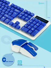 Fashion 2.4G Wireless Suspended Mechanical Touch Game Keyboard and Mouse Blue