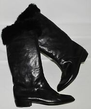 CHARLES JOURDAN SZ 9.5 B BLACK LEATHER FUR COLLAR FLAT KNEE HIGH BOOTS