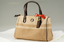 Unused Auth COACH Wool Handbag Brown Free Shipping 723k18