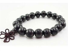 Long Tibetan 19 12mm Black Sandalwood Carved Buddha Prayer Bead Mala Bracelet 7""
