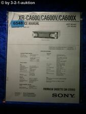 Sony Service Manual XR CA600 /CA600V /CA600X Car Stereo (#6548)