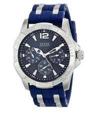 NEW GUESS WATCH Men`s Blue Silicone W/Silver Multifunction Watch U0366G2