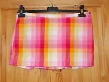 TOPSHOP pink orange yellow check short mini skater skirt vintage bow BNWT 10 38