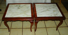 Pair of Cherry Marble Top End Tables / Side Tables by Berkey / Widdicomb  (T493)