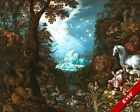 ANIMALS GATHERED NEAR NOAH'S ARK PAINTING BIBLE FLOOD ART REAL CANVAS PRINT