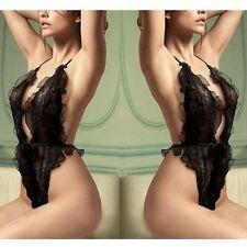 Sexy Lingerie Women Lace Sheer Babydoll Sleepwear Dress G-string Underwear New