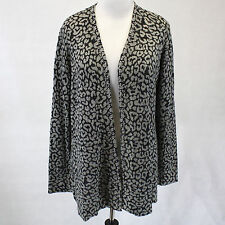 NWT Christine Alexander Pewter Leopard Print Studded Long Cardigan Sweater Large