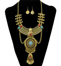 New Gifts Metal Vintage Gold Plated Crystal Rhinestone Coins Tassels Necklace