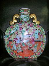 Chinese Porcelain Rose Medallion Mandarin double handle Moon Flask  16''inches