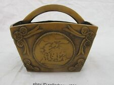 China Folk FengShui Bronze Copper Attract Wealth and treasure  Dou Basket Statue
