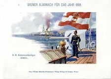 """S. M. Küstenverteidiger """"Wien"""" Historischer Farb- Kunstdruck von 1899"""