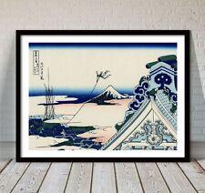 "Beautiful Japanese Landscape Art ~ CANVAS PRINT 8x12"" ~ Hokusai Honganji Temple"