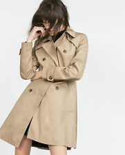 Zara woman coat trench manteau L 40 trench coat schösschen beige avec ceinture