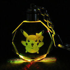 LED night Light color changing crystal Pokemon Movie Pikachu Keychain Keyring #G