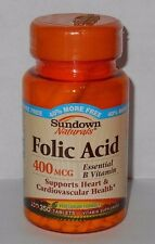 Sundown Naturals Folic Acid 400mcg 350ct Tablets -FREE WORLDWIDE SHIPPING-