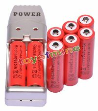 8x AA 2A Red Color 1.2V Ni-MH 3000mAh Rechargeable Battery + USB Charger