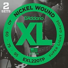D'Addario EXL220TP Nickel Wound Bass Guitar Strings, Super Light, 40-95, 2 Sets,