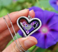 Valentine's Day Cat Lover Living Locket Necklace Floating Charms Purple Kitty