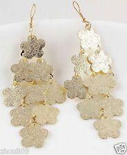 9k Yellow Gold Filled Women Elegant Rhinestone Ear Stud dangle Earrings e491..