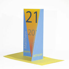 21st Happy Birthday card BLUE personalised NAME numbers boy son male nephew 3D