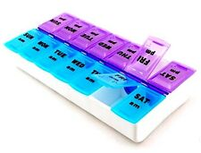 Weekly Pill Box AM PM Clip Lids Medicine Organiser 7day Tablet Storage Dispencer