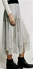 NWT Free People gray sugar Plum Tutu Midi Maxi Skirt mesh tulle lace L