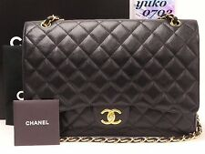 r57458 Auth CHANEL Black Caviar Skin Jumbo Double Flap Chain Shoulder Bag GHW