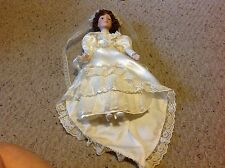 """Baby Doll with Porcelain ? Face, feet and hands.     15""""  long.  Bride.  Used."""