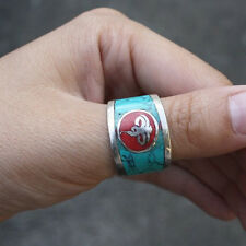 Wide Delicate Tibetan Turquoise red Coral Inlaid Golden Buddha Eye Amulet Ring