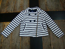 Gap Kids Navy & White Striped Knit Moto Sailor Jacket Long Sleeve GapKids 6-7