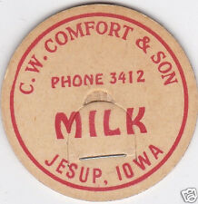MILK BOTTLE CAP. C. W. COMFORT & SON. JESUP, IA. DAIRY
