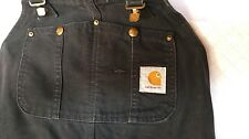 Carhartt Duck Bib Overalls Black Quilted Lined 29x30 small