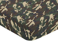 SWEET JOJO DESIGNS GREEN KHAKI CAMOUFLAGE CRIB TODDLER FITTED SHEET-CAMO PRINT