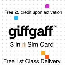 GIFFGAFF pay as you talk payg standard micro nano sim with £5 credit o2 ee new