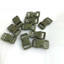 "10pcs 3/8"" Curved Side Release Plastic Buckle for Paracord Bracelet Army Green"