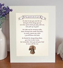 """Weimaraner 10"""" x 8"""" Free Standing 'Thank You' Poem Fun Novelty Gift FROM THE DOG"""