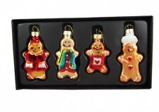 Set of 4 Gisela Graham Gingerbread Men Christmas Tree Decorations - Glass Decs