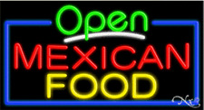 MEXICAN FOOD OPEN HANDCRAFTED ENERGY EFFICIENT GLASSTUBE NEON SIGNS