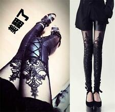 Hot Women Lady Vintage Gothic Punk Faux PU Leather Sexy Lace Leggings Pants - DD